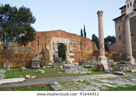 Rome, the Roman Forum with the basilica Emilia - stock photo