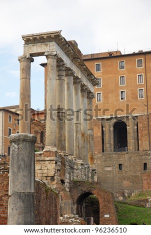 Rome, the Temple of Saturn in the Roman Forum - stock photo