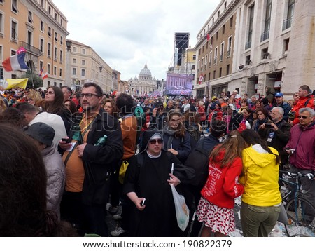 ROME, VATICAN - April 27, 2014: St. Peter's Square, a celebration of the canonization of Popes John Paul II and Pope John XXIII, were canonized by Pope Francis, on 27 April 2014. Great joy,