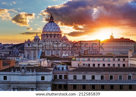 Rome, Vatican city at sunset - stock photo