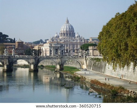 Rome view and St. Peter's Basilica