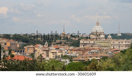 Rome, view from Gianicolo - stock photo