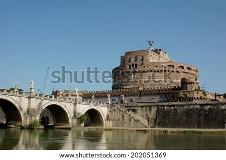 Rome view from the bridge over the Tiber river - Rome - Italy - stock photo