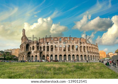 Rome. View of Colosseum on a beautiful spring afternoon. - stock photo
