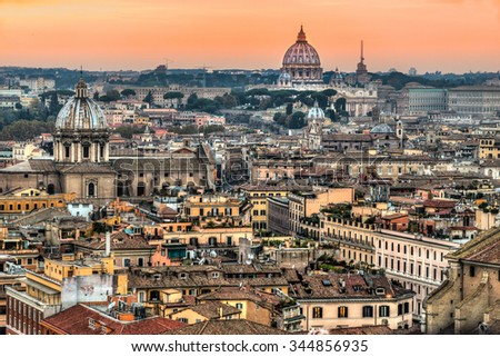 Rome, View of St. Peter Cupola and Vatican.Italy. - stock photo