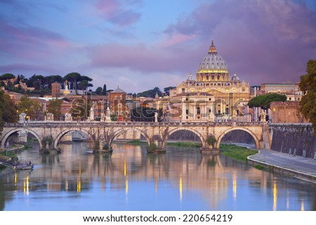 Rome. View of St. Peter's cathedral in Rome, Italy. - stock photo
