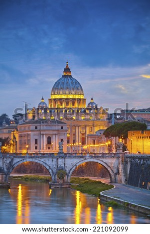 Rome. View of St. Peter's cathedral in Rome, Italy during twilight blue hour. - stock photo