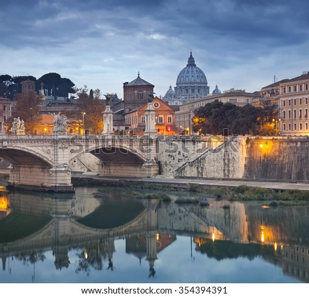 Rome. View of Vittorio Emanuele Bridge and the St. Peter's cathedral in Rome, Italy.  - stock photo