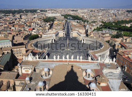 Rome viewed from atop St. Peter's basilica.