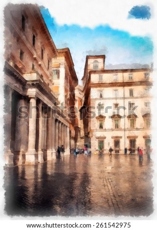 Rome watercolor illustration. Italy.