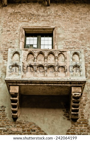 Romeo and Juliet balcony in Verona, Italy -colorized photo for old mood - stock photo