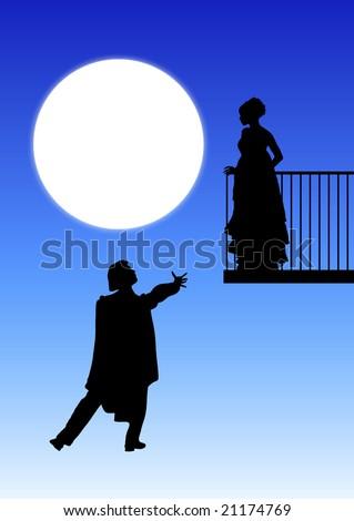 Romeo and Juliet balcony scene - stock photo