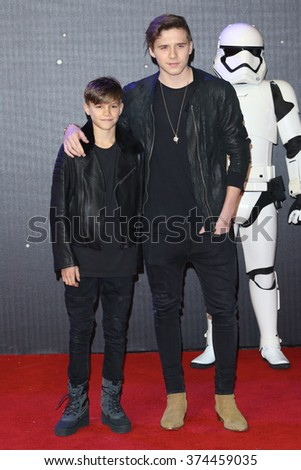 """Romeo Beckham & Brooklyn Beckham at the European premiere of """"Star Wars: The Force Awakens"""" in Leicester Square, London. December 16, 2015  London, UKPicture: James Smith / Featureflash - stock photo"""