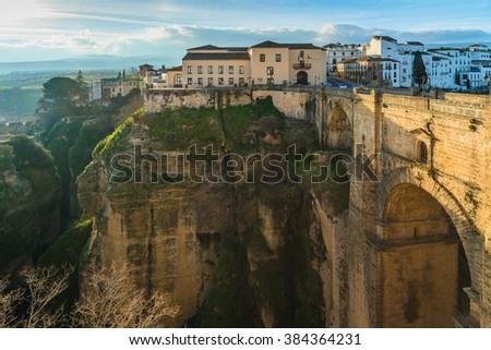Ronda, at the Puente Nuevo Bridge over the Tajo Gorge. Andalusia. Spain - stock photo