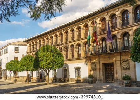 Ronda city hall was formerly a military quarter, built in 1734. After restoring the building, the city hall was built above the ancient shops located at the arcade of the square. - stock photo