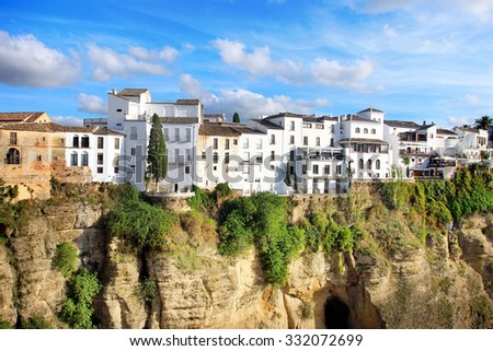Ronda city on sunny evening day, Andalucian city in Spain - stock photo