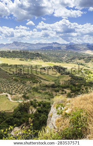 Ronda landscape view. A city in the Spanish province of Malaga, within Andalusia. Situated in a mountainous area about 750 m above mean sea level. - stock photo