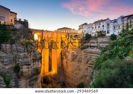 Ronda, Spain at the Puente Nuevo Bridge over the Tajo Gorge. - stock photo