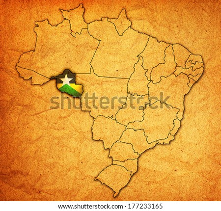 rondonia state on administration map of brazil with flags - stock photo