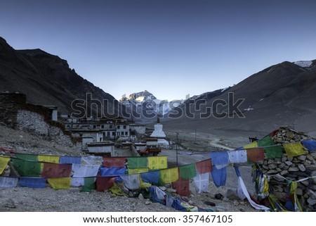 Rongbuk monastery at the foot of Mount Everest, Shigatse, Tibet. - stock photo