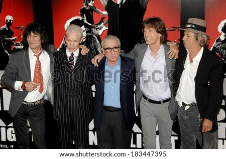 Ronnie Wood, Charlie Watts, Martin Scorsese, Mick Jagger, Keith Richards, The Rolling Stones at the press conference for SHINE A LIGHT Press Conference, The New York Palace Hotel, NY, March 30, 2008 - stock photo