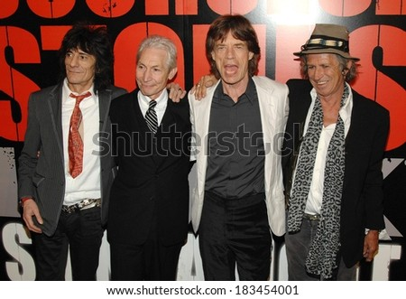 Ronnie Wood, Charlie Watts, Mick Jagger, Keith Richards at SHINE A LIGHT Premiere, Clearview's Ziegfeld Theater, New York, NY, March 30, 2008  - stock photo