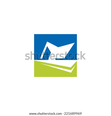 Roof abstract sign Branding Identity Corporate logo design template Isolated on a white background - stock photo