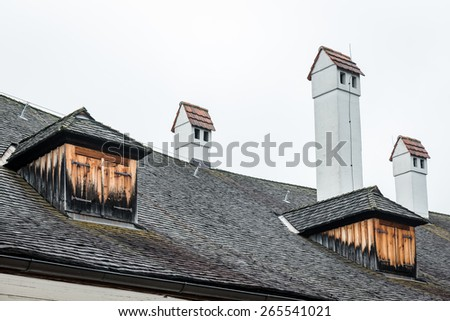 Roof and Chimney of Castle Orth in Upper Austria - stock photo