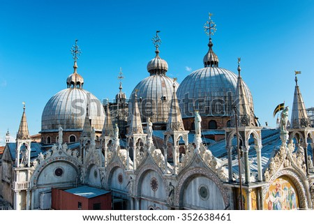 Roof architecture details of Basilica San Marco (Saint Mark's basilica) in Venice, Italy. - stock photo