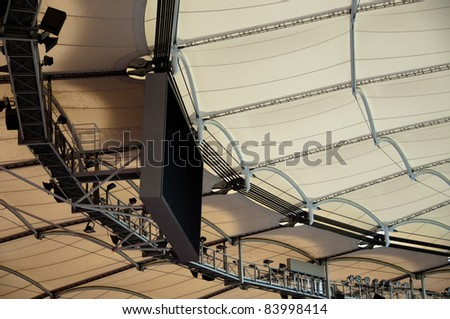 Roof construction of a soccer stadium - stock photo