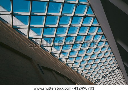 Roof constructive windows in building, - stock photo