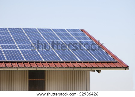 Roof covered with solar panels.