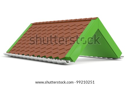 Roof. 3D creative green model isolated on white background - stock photo