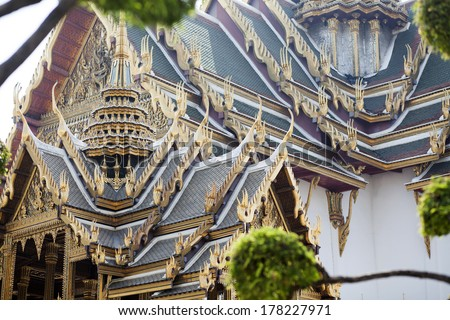 Roof decoration of buddhist temple in Thailand