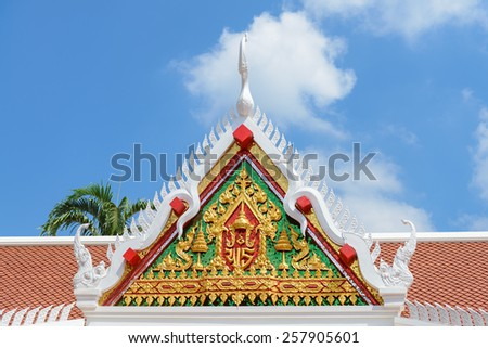 roof detail of the temple of Thailand  - stock photo
