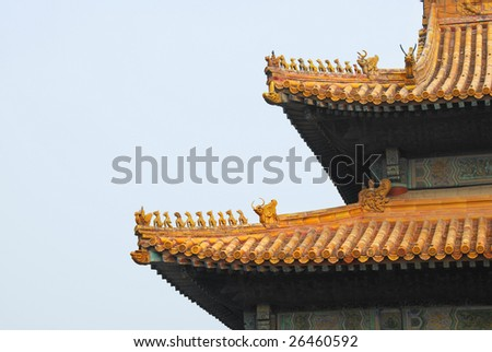 Roof details on temple - stock photo