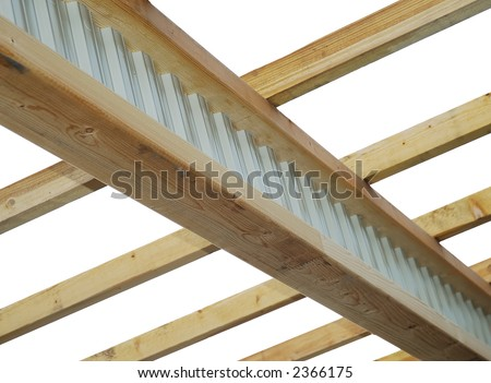 Roof frame : composite timber-steel I-beam and rafters - stock photo