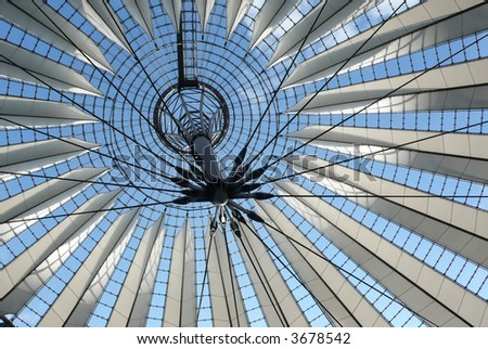 Roof geometry.  It is suspended over Berlin's Sony center