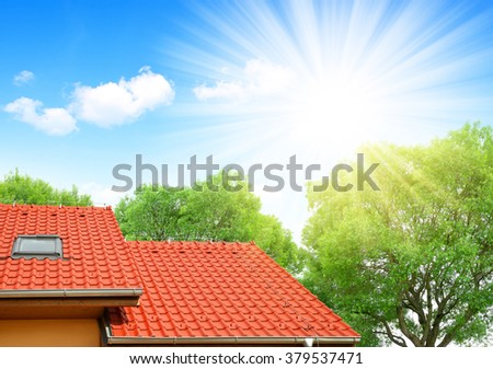 Roof house with tiled roof. - stock photo