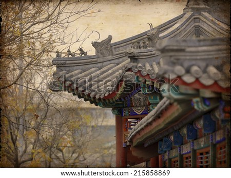 Roof in China - vintage style.  - stock photo