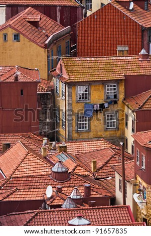 roof landscape in the abandoned historic city of Porto - stock photo