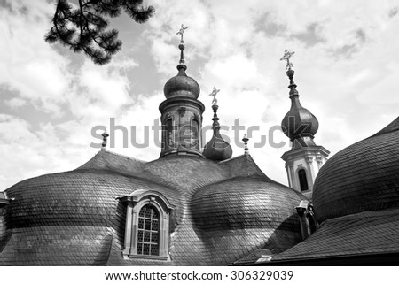 Roof of a church, typical baroque architecture in Wuerzburg from the 18th century. - stock photo