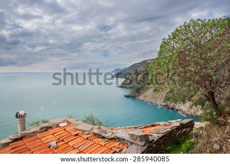roof of a little house in cinque terre Liguria Italy - stock photo