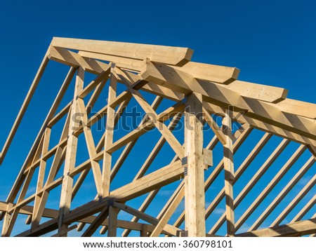roof of a new roof - stock photo