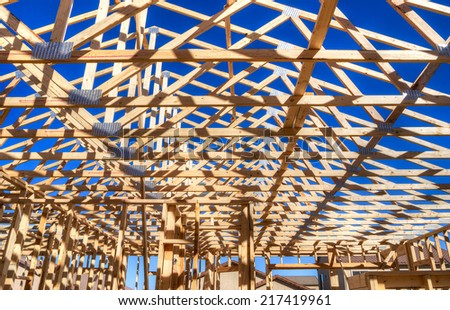Roof of an residential house under construction. - stock photo
