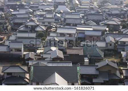 Roof of buildings, view from above - stock photo
