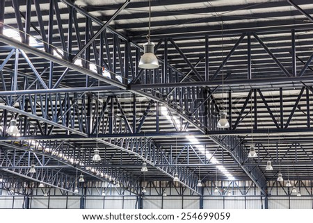 Roof of large modern warehouse structure - stock photo