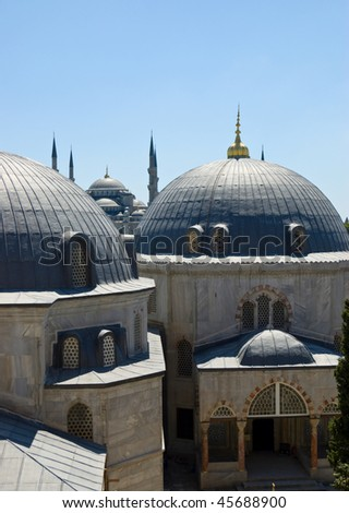 roof of mosque in istanbul - stock photo