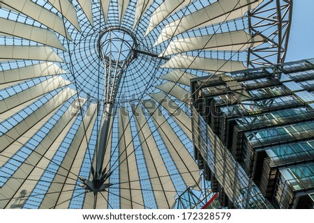 Roof of new commercial center at the Potsdamer Platz in former east Berlin.