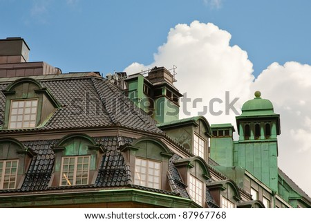 roof of old house in Stockholm, Sweden - stock photo